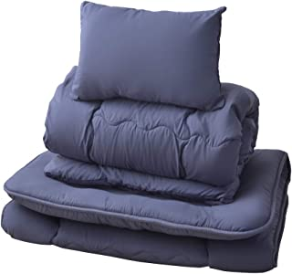 PaletteLife パレットライフ 布団セット シングル 3点セット 布団 ほこりが出にくい 寝具 掛け布団 敷き布団 まくら(ネイビー)