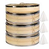 Hcooker 3 Couches Cuisine à Vapeur en Bambou avec Double Bande en Acier Inoxydable...
