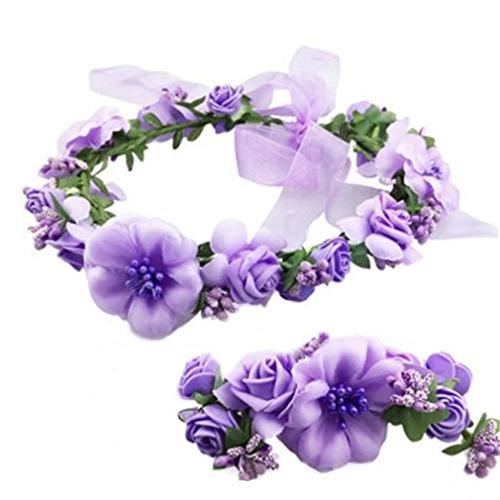HENGSONG Bandeau Fleur Fée Fleur couronne de fleurs cheveux pour le soir de robe de mariée demoiselle d'honneur, 1 x Bandeau Fleur + 1 x Bracelet Fleur (Violet)