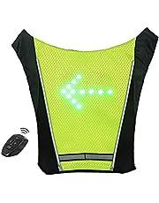 LED-richtingaanwijzer-fietsvest met 4-richtingsindicator, USB-oplaadbare LED-fietsrugzak Veiligheidslicht voor fietsen 's nachts, draadloze afstandsbediening