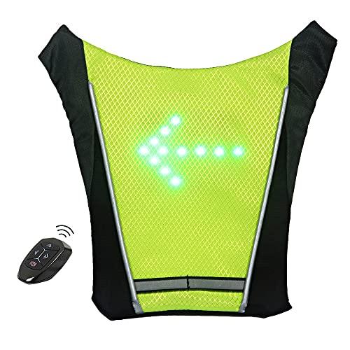 Gilet da Bici con Indicatori di Direzione a LED con 4 Indicatori di Direzione, Luce di Sicurezza per Zaino da Ciclismo a LED Ricaricabile Tramite USB per Il Ciclismo di Notte, Telecomando Wireless