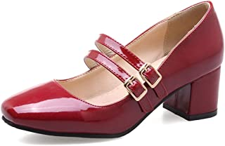Smilice Women Marry Jane Shoes with Chunky Heel