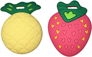 "Silli Chews Fruit Teethers for Babies BPA Free - Silicone Pineapple and Strawberry Baby Teether Toys 2"" Teething Gift Set"