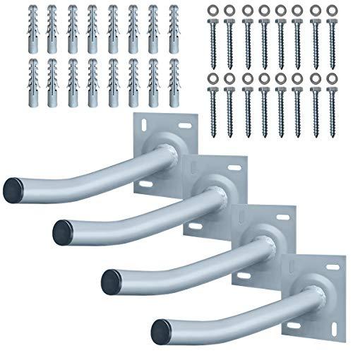 Aufun 4 x Reifenhalter Wandhalterung Autoreifen Wandhalter Set bis 50kg Felgenhalter inkl. Montage Schraubensatz, Reifenständer aus Stahl für Garage