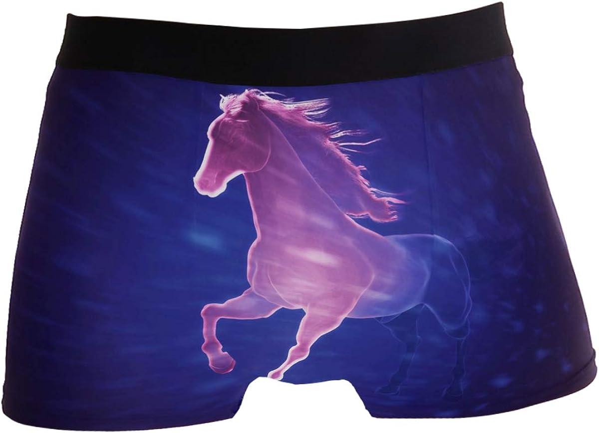 Men's Boxer Brief Underwear - 3D Art of Running Horse Boxers for Men No Ride Up