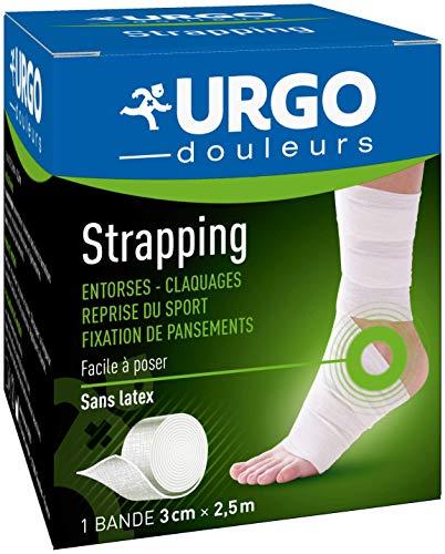 Urgo - Strapping - Bande élastique adhésive - Contention / Fixation de pansements - 1 bande 2,5mx3cm