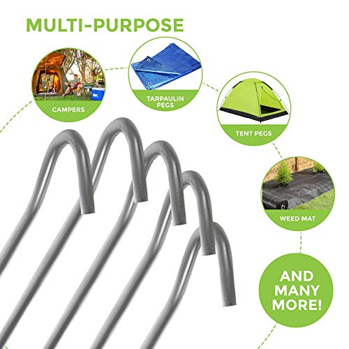 LIVIVO Heavy Duty Galvanised For Long Life Steel Tent Pegs Metal Camping (PACK OF 50)