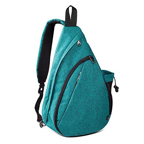 Sling Bag Damen und Herren, Outdoormaster Leichter Schulterrucksack Sling Rucksack Pack mit bequemem Material, multifunktionales Crossbag Brust Tasche Schleuder Tasche für Outdoorsport (Grün)