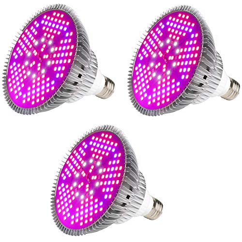 3 Packs LED Pflanzenlampe,E27 High Power Panel Vollspektrum Pflanzen Wachstumslampe,200 LEDs Growing Lights Bulb,für Hydroponic Vegs Topfblume (85~265V)