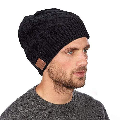 Auriculares Bluetooth Gorra Beanie Sombrero inalámbrico con Altavoz Estéreo para el Deporte de Invierno al Aire Libre Correr, Esquiar, Escuchar Música, Contestar Llamadas Telefónicas, (Negro)
