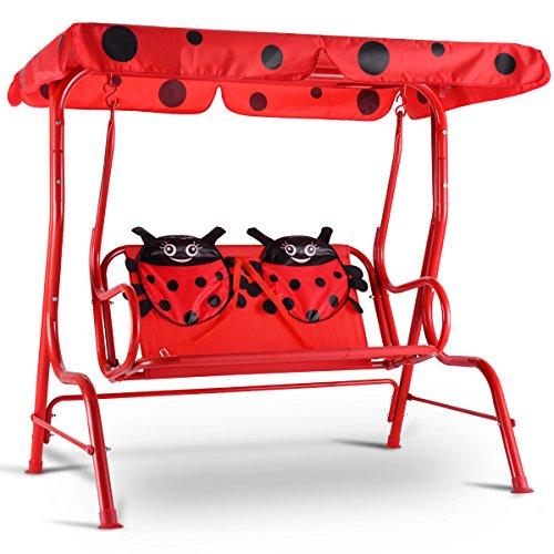 Costway Balancelle de Jardin pour Enfants 2 Places Balançoire Jardin avec Auvent Charge Max 80KG 112x75x108cm (Rouge)