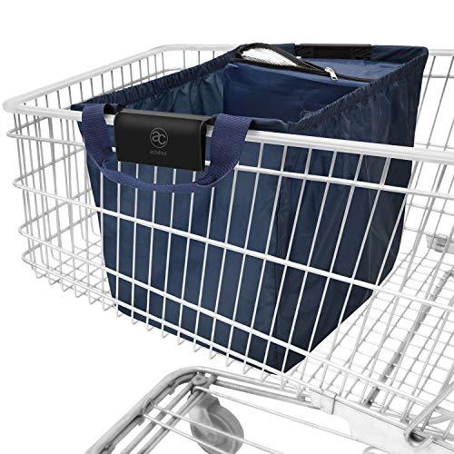 achilles Easy-Cooler Faltbare Einkaufswagentasche mit Kühleinsatz Einkaufstasche passend für alle gängigen Einkaufswagen Shopper Tragetasche Falttasche Kühltasche Navy blau 54x35x39 cm