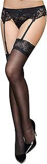 Not application, Conjunto de tirantes de encaje negro sexy con calcetines de rejilla con tirantes desmontables