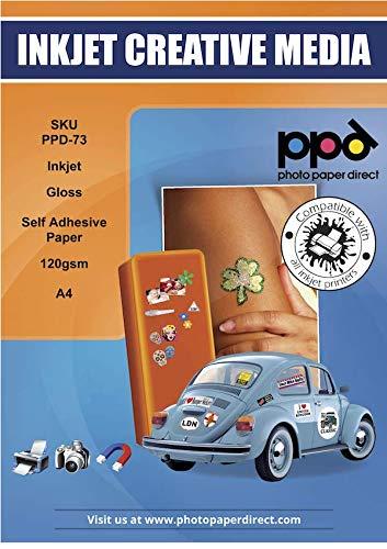 PPD A4 x 50 Hojas de Papel Fotográfico Autoadhesivo Brillante - Gramaje de 120 g/m² y Secado Instantáneo - Para Impresora de Inyección de Tinta Inkjet - PPD-73-50