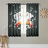 Poker Tournament Decorations Custom Curtains 55 x 54Inch,Set of 2 Artistic Display Spread Chips with Poker Cards Lifestyle Grommet Curtains for Bedroom Black White Red