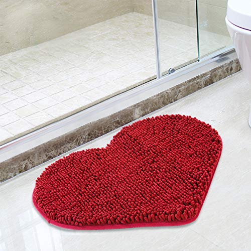 MAYSHINE Non-Slip Bathroom Rug Love Shaped Shag Shower Mat Machine-Washable Bath Mats Lovely Heart with Water Absorbent Soft Microfibers (20X24 Inches Red)