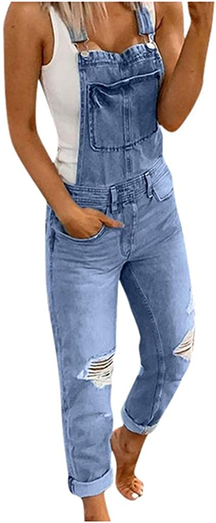 LEIYAN Womens Ripped Jumpsuit Jeans Casual Loose Fit Straight Leg Stretchy Work Rompers Overalls Denim Pants