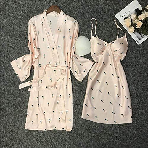 XFLOWR Vrouwen Comfort Zijde Satijn Nachtjapon Huiskleding Dames Cardigan+jurk 2 stks Slaapmode Cartoon Fruit Gedrukt Zachte Robe Voor Femme