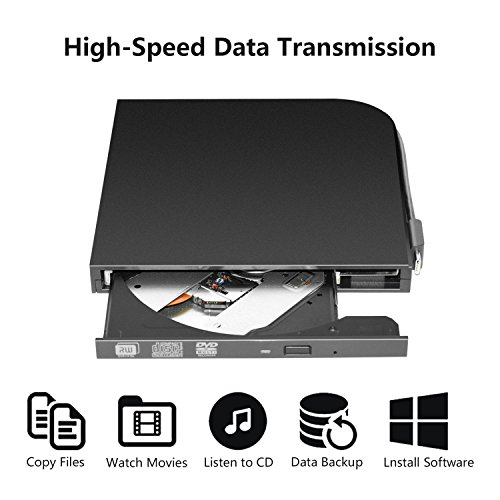 External Blu-ray DVD/BD/CD Drive BD-ROM 3D Blu-Ray Combo Player USB 3.0 Portable CD/DVD-RW Writer CD-ROM DVD-ROM Rewriter for PC Laptop Desktop Computer (Black/