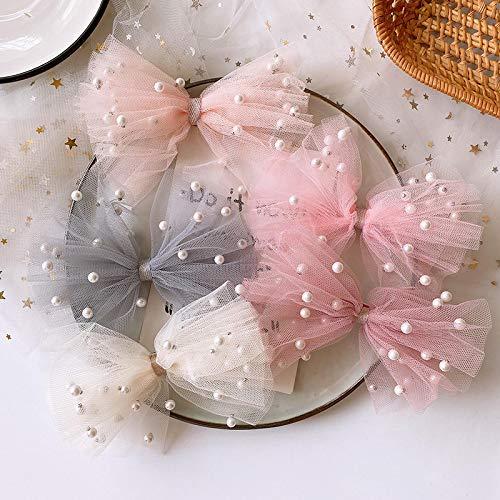 6 piezas coreano dulce chica hermoso colorido hilo de perlas de imitación arco pinza de pico de pato horquillas de moda para niños accesorios para el cabello