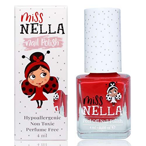Miss Nella CHERRY MACAROON- Esmalte especial para uñas con brillos para niños, fórmula despegable, a base de agua y sin olor