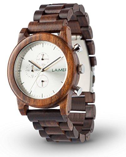 LAiMER 0061 - DAMIAN, Orologio analogico da polso al quarzo, cronografo, con cinturino in legno Sandalo, marrone, uomo