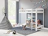 Children's Beds Home - Cama Loft - Bobby para niños pequeños - Tamaño 190 x 90, Color Blanco, Colchón 10 cm de espuma / coco colchón, altura 180 cm