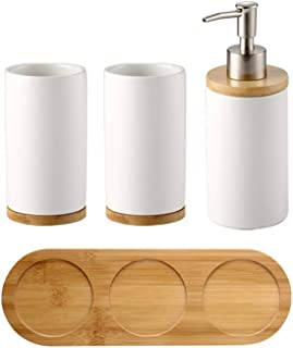 Moseason 4 Piece Ceramic Bathroom Accessories Set ,Includes: Soap Dispenser Pump, Toothbrush Holder, Tumbler with Wooden Tray