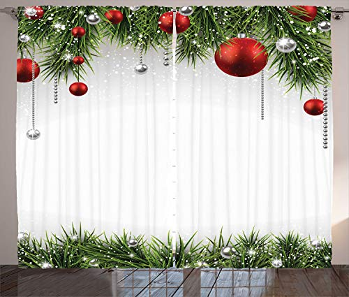 Ambesonne Christmas Curtains, Classical Christmas Ornaments and Baubles Coniferous Pine Tree Twig Tinsel Print, Living Room Bedroom Window Drapes 2 Panel Set, 108' X 90', Vermilion Green