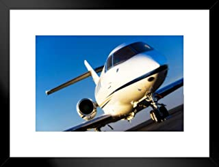 Poster Foundry Corporate Jet Airplane Sitting on Runway on Sunny Day Photo Matted Framed Art Print Wall Decor 26x20 inch