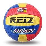 YUIO Soft Touch PU Leder 5# Volleyballball Indoor-Trainingswettbewerb im Freien Standard-Volleyballball für Schüler (gelb & rot & blau (V601B))