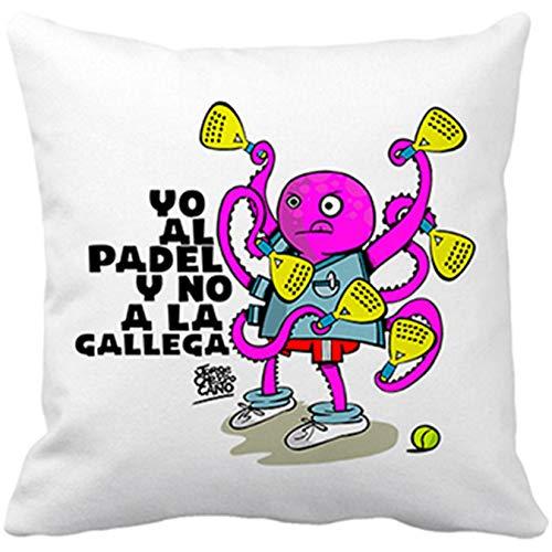 Diver Bebé Cojín con Relleno yo al Padel y no a la gallega - Blanco, 35 x 35 cm