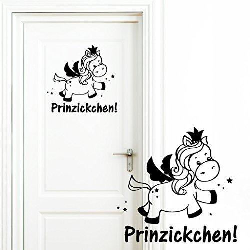 Wandtattoo Loft Türaufkleber Schriftzug 'Prinzickchen!' mit Einhorn Prinzessin und Krone und Sternen / Türaufkleber / Aufkleber / 54...
