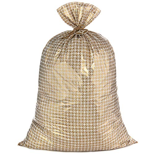 Hallmark 56' Jumbo Plastic Gift Bag (Gold Pattern) for Graduations, Weddings, Bridal Showers, Mother's Day, Birthdays, Engagement Parties, Retirements, Christmas, Hanukkah