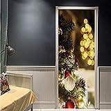 Pegatina de puerta 3D Pegatinas de puerta 2Pcs / Set Feliz Navidad Pegatinas de pared Papel pintado Festival Navidad Arte mural Fiesta Salón Tienda Calcomanías Decoración del hogar