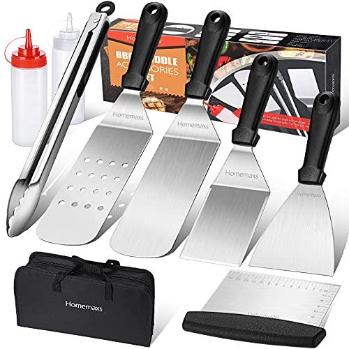 Homemaxs Grillspachtel Set, 9 Pcs Grillbesteck Edelstahl für Outdoor und Indoor, BBQ Zubehör für Männer Camping, Grillen im Freien, Teppanyaki