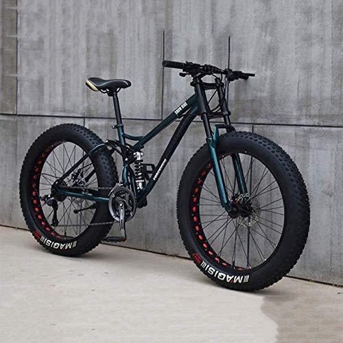 XinQing-Bike Mountain Bike, 26 Inch 7/21/24/27 Speed Bicycle, Men Women Student Variable Speed Bike, Fat Tire Mens Mountain Bike (Color : Cyan, Size : 24 speed)
