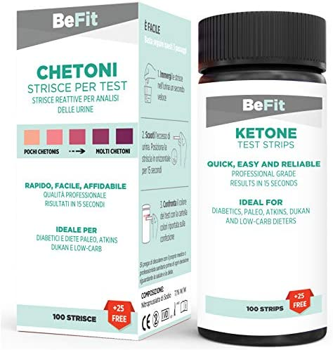 BeFit - Tiras para análisis de cetonas, ideales para seguir dietas cetogénicas (ayuno intermitente, paleo, Atkins), incluye 100 tiras + 25 gratis