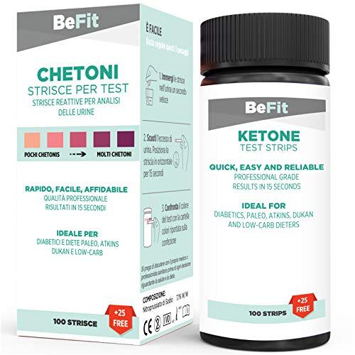Strisce di test BeFit per analisi chetone. Ideale per seguire la dieta chetogenica (Intermittent Fasting, Paleo, Atkins, Dukan). 100 strisce + 25 gratis
