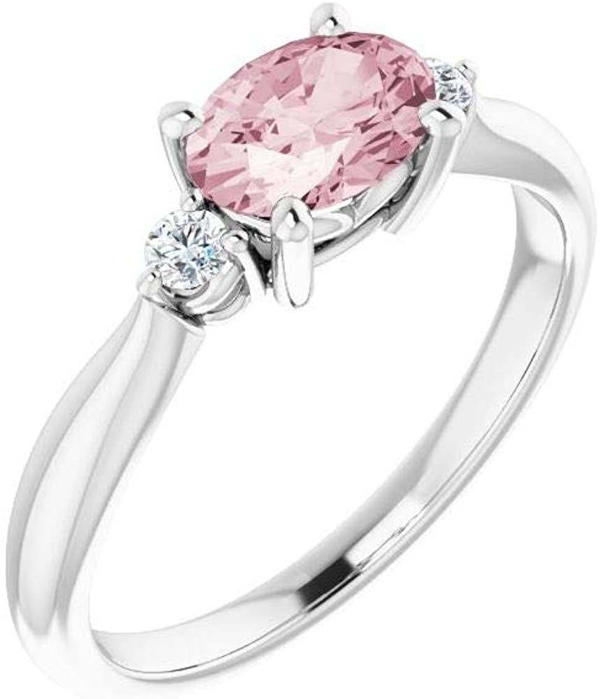 Solitaire 7x5mm Oval Morganite and Diamond Ring Band