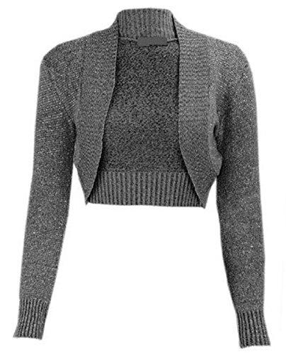 My Fashion Store Damen Lurex-Bolero, langärmelig, Cropped-Bolero, gehäkelt, Strickjacke, Größe 36-42 Gr. 38-40, anthrazit