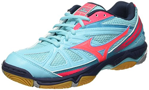 Mizuno Wave Hurricane Wos, Zapatos de Voleibol para Mujer, Multicolor (White/Safetyyellow/Blueradiance), 38.5 EU