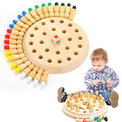 OMZGXGOD Ajedrez de Memoria,Niños Memory Stick, Juguete Ajedrez Memoria Madera,ajedrez de Memoria Montessori,Juguetes cognitivos de Color para niños