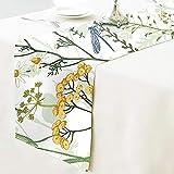 Qchengsan Chemin de Table en Coton Floral, Motif Floral de Printemps, napperon de Table en Tissu, décoration de la Maison pour Cuisine, Salle à Manger, fête de Mariage