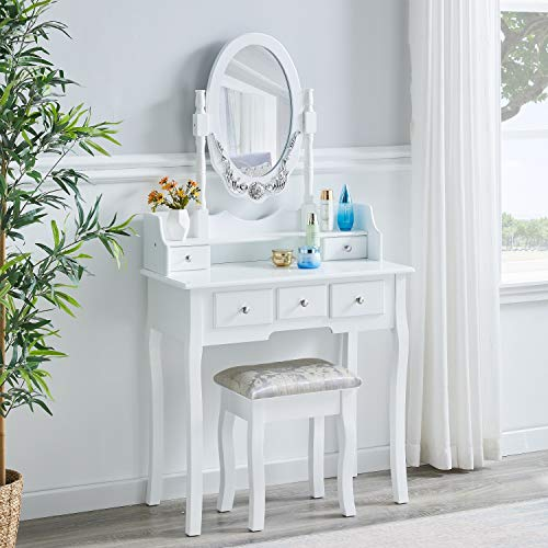 JYMTOM White Dressing Table Vanity Table Set Large Storage Makeup Table Furniture with 5 Drawers and Stool for Bedroom