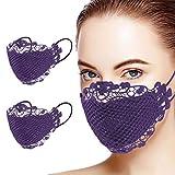 nhju 2 bandanas para la cara de las mujeres elegantes de doble capa bordada de malla de encaje transpirable para cubrir la cara del Reino Unido a prueba de polvo para la boda de máscaras