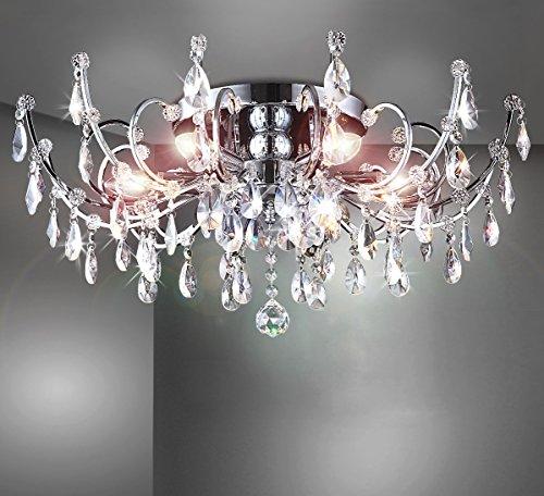 Strass Kristall Kronleuchter Deckenlampe Deckenleuchte Lüster Wohnzimmer Beleuchtung Kristallleuchte Wohnzimmerlampe klassisch XL 60cm 6xE14 Fassungen - 3
