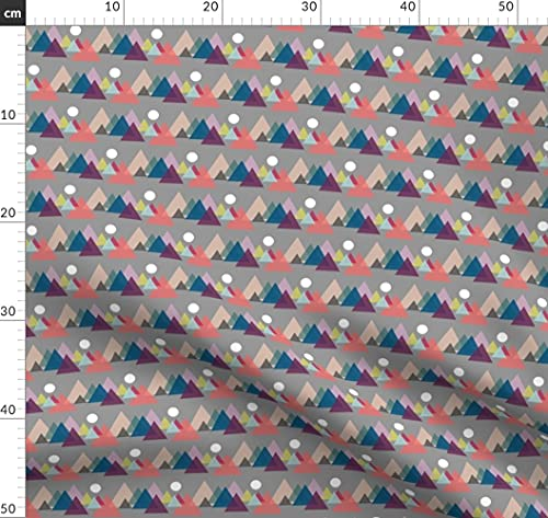 Spoonflower Fabric - Mountains Sunset Nature Recreation Triangle Geometric Printed on Fleece Fabric by The Metre Sewing Blankets Loungewear and No-Sew Projects