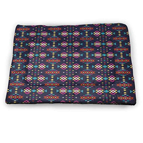 Pet Crate Mat Bed Geométrico Absorbente Durable Lavado Seguro Pastel Rejilla Abstracta Composición Cuadrada Asiento de Coche en Verano