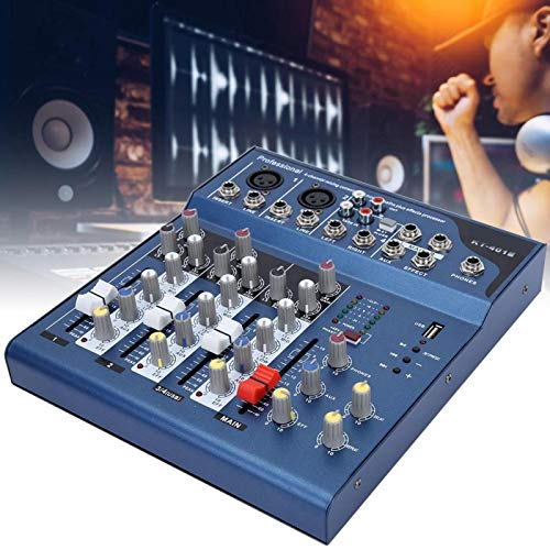 Shipenophy Mezclador con módulo USB Mp3 para Karaoke, Cine en casa, Amplificador, Altavoz para grabación, Sistema de Mezcla de micrófono de Escenario(European regulations)